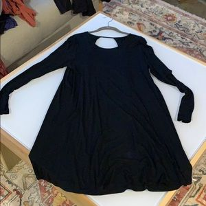 Long Sleeve Black T Shirt Dress - L